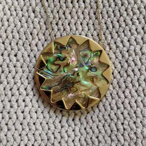 House of Harlow 1960 Abalone Sunburst Necklace